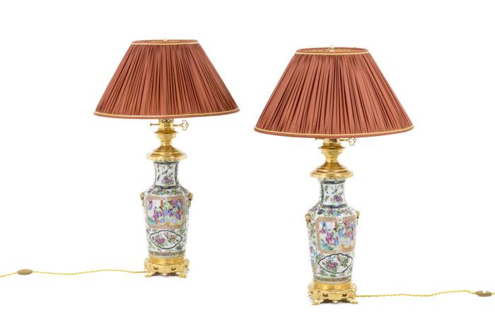 lampes porcelaine samson canton bronze doré