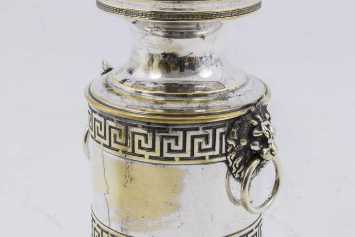 lampes style antique métal argenté frise de grecques