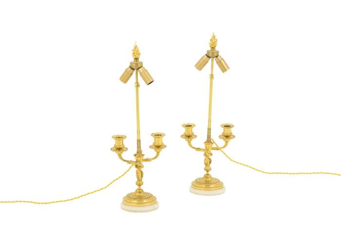 lampes style louis xvi marbre bronze doré