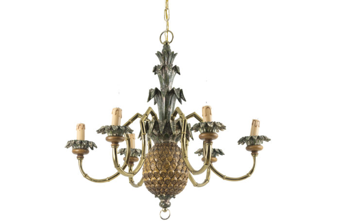 pineapple chandelier lacquered wood gilt brass 1950's