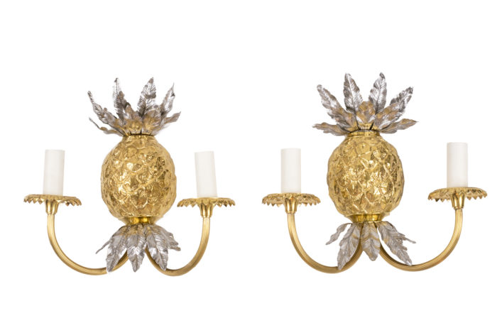 maison charles pineapple wall sconces gilt and silvered bronze
