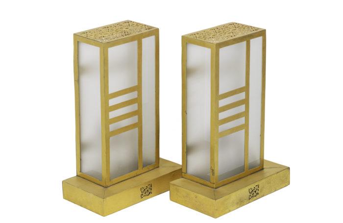 appliques style oriental laiton doré verre