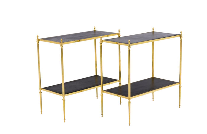 end tables gilt brass black leather maison jansen style