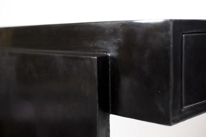 bureau bois laqué noir cuir crème détail