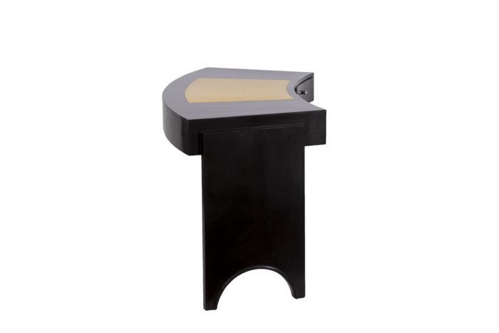 bureau bois laqué noir cuir crème side