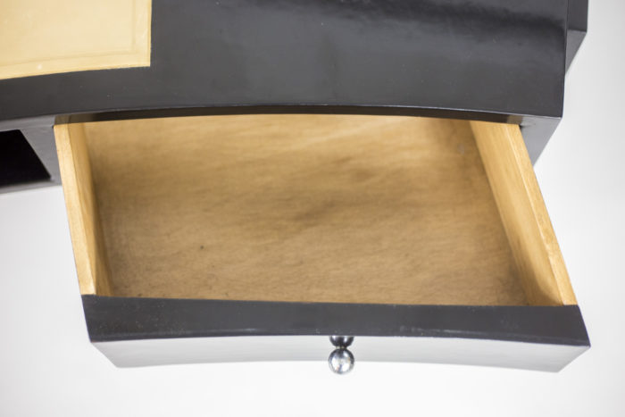 bureau bois laqué noir tiroir