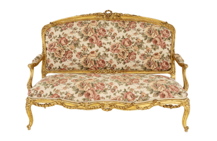 louis xv style sofa gilt wood tapestry