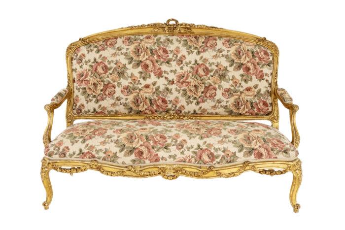 canapé style louis xv bois doré tapisserie