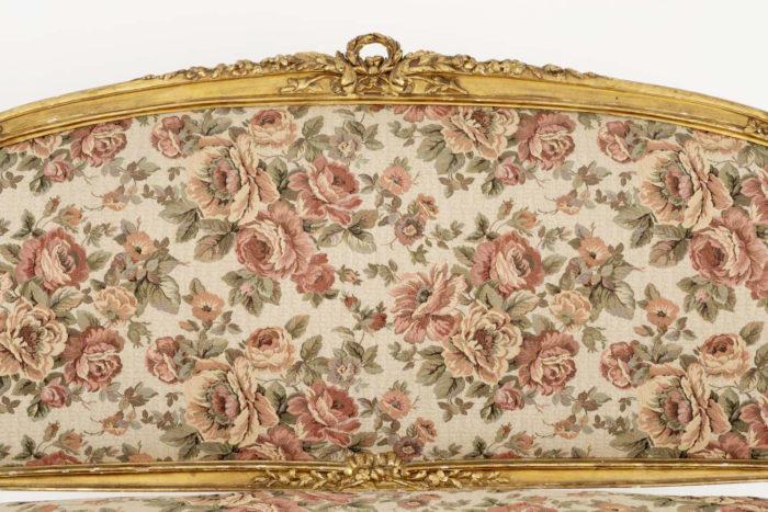 canapé style louis xv bois doré tapisserie dossier