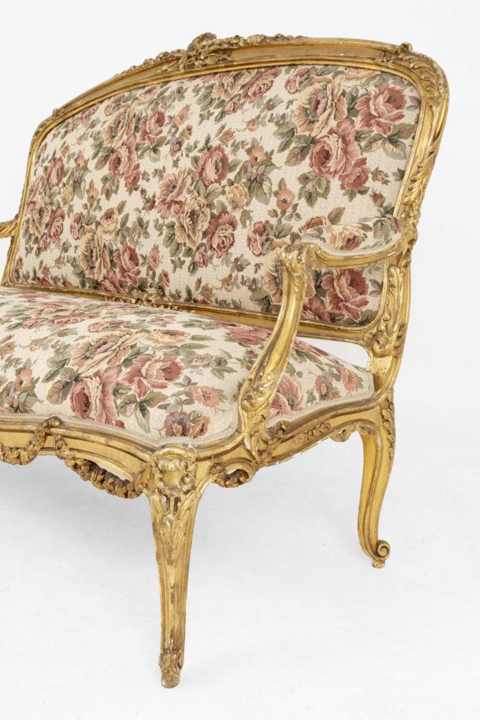 canapé style louis xv bois doré tapisserie pied