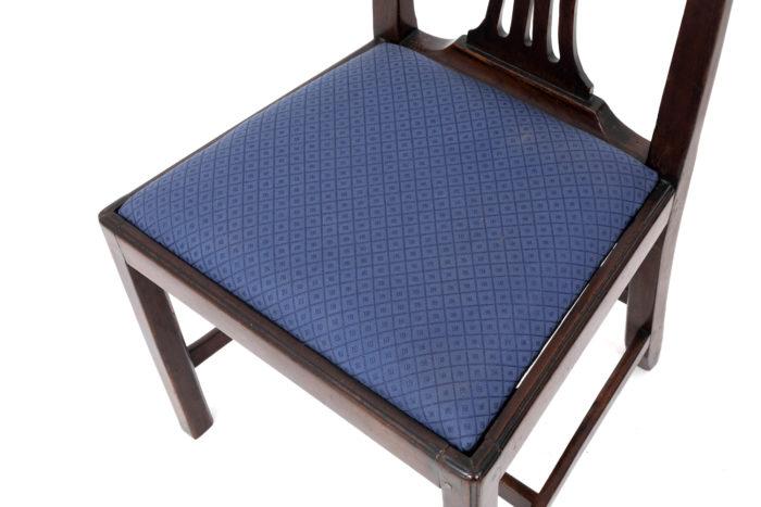 chaises chippendale acajou tissu bleu