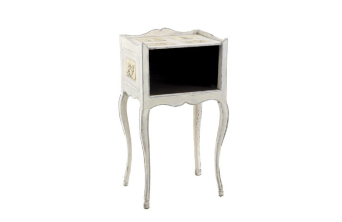 louis xv bedside table white lacquered wood caricatures