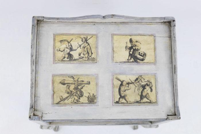 chevet louis xv bois laqué blanc caricatures plateau