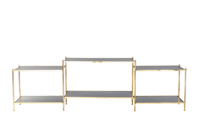 low console gilt brass smoked glass