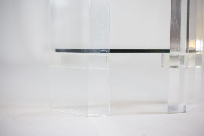 consoles lucite plateau verre