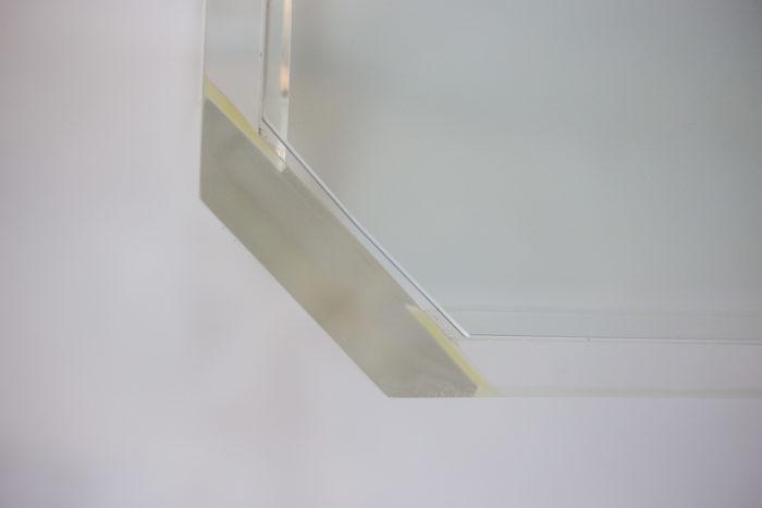 consoles lucite verre angle