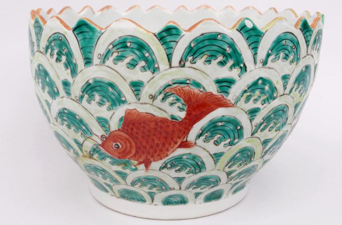 cup chinese porcelain fishes decor