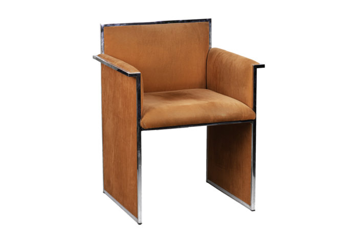 armchair chromed metal orange suede