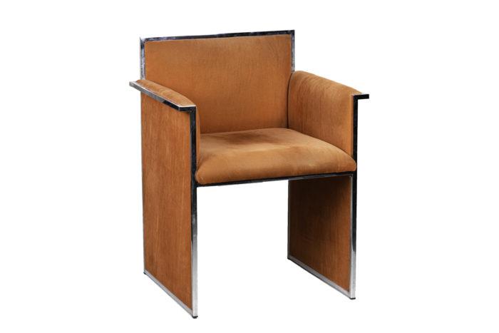 fauteuil métal chromé suédine orange