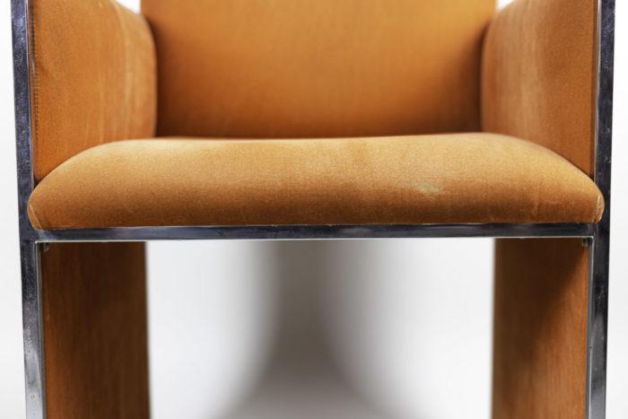 fauteuil métal chromé suédine orange assise