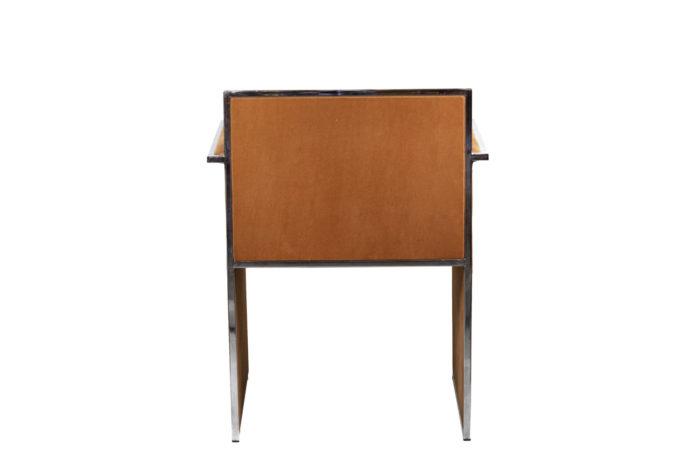fauteuil métal chromé suédine orange back