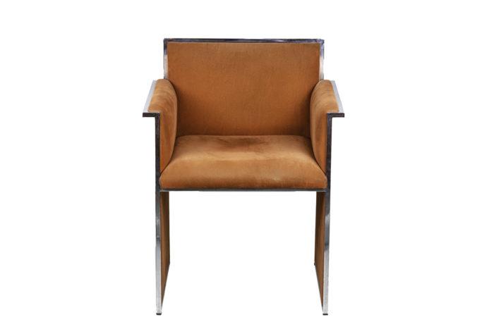 fauteuil métal chromé suédine orange face