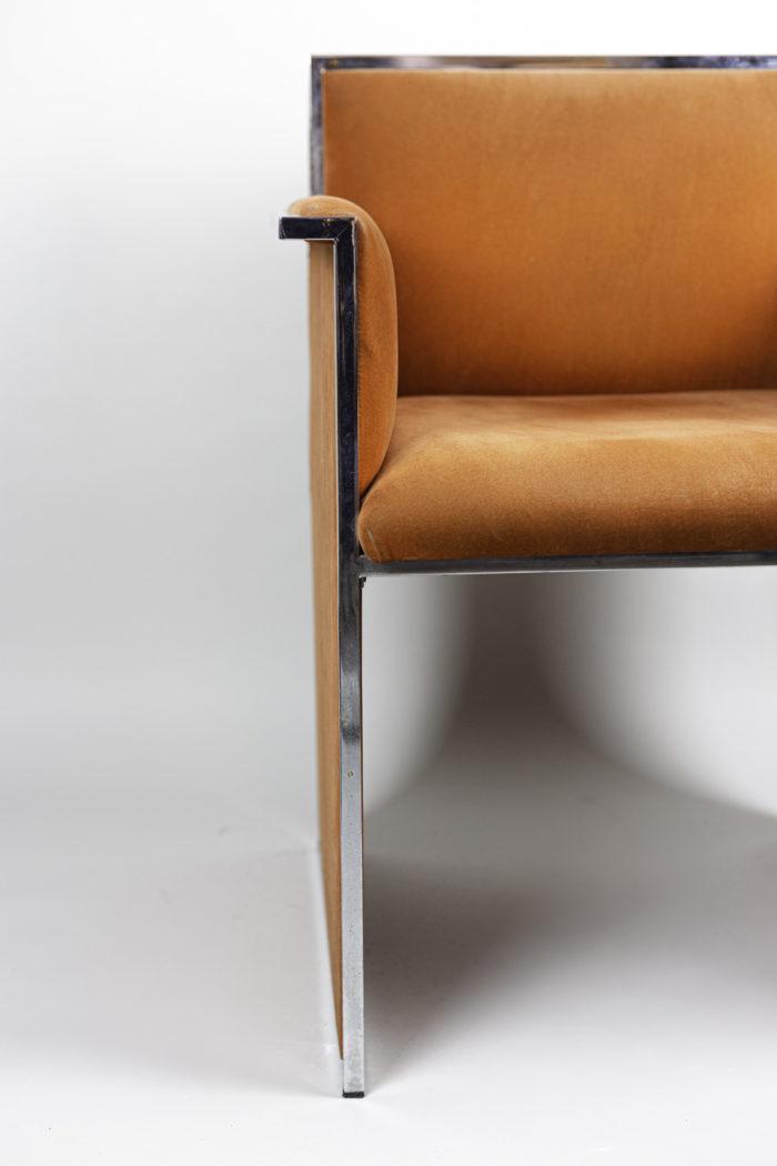 fauteuil métal chromé suédine orange pied