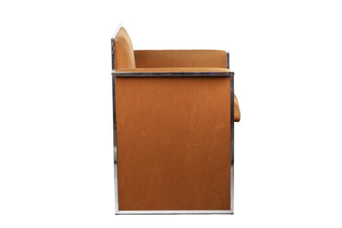 fauteuil métal chromé suédine orange side