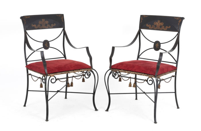 directoire style armchairs black lacquered metal