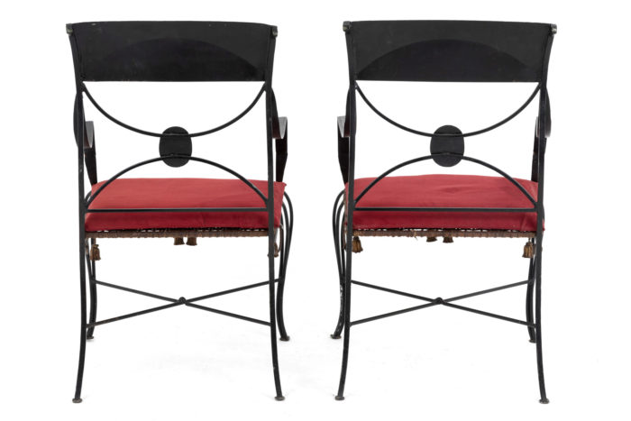 directoire style armchairs black lacquered metal back