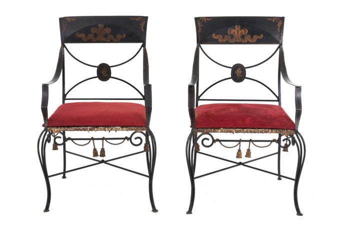 directoire style armchairs black lacquered metal face