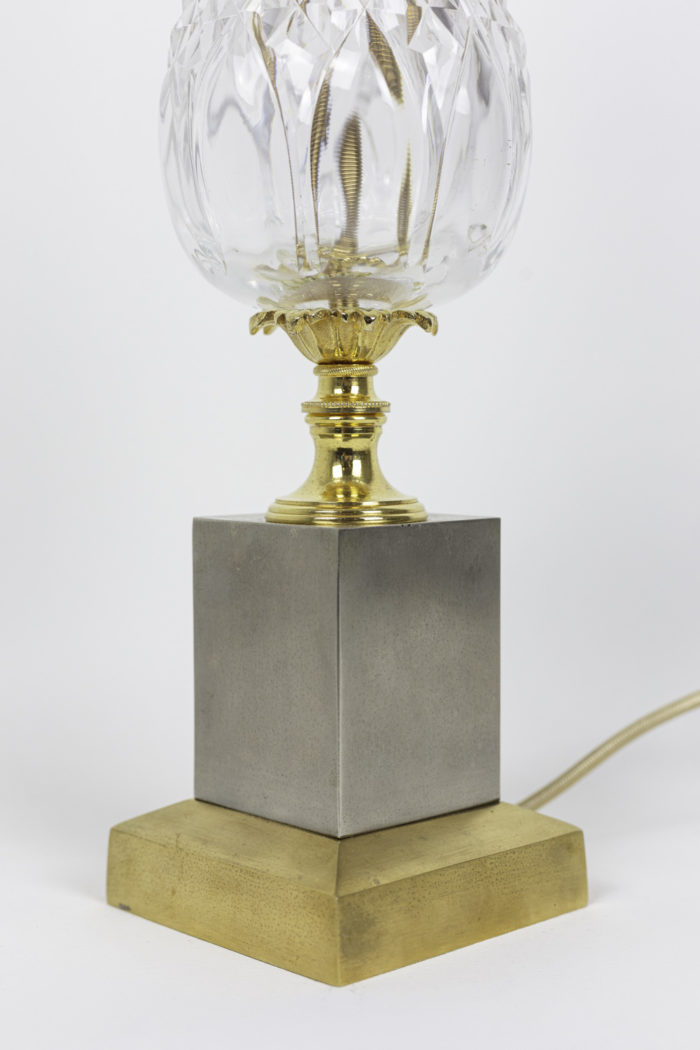 pineapple lamp crystal metal gilt silvered base