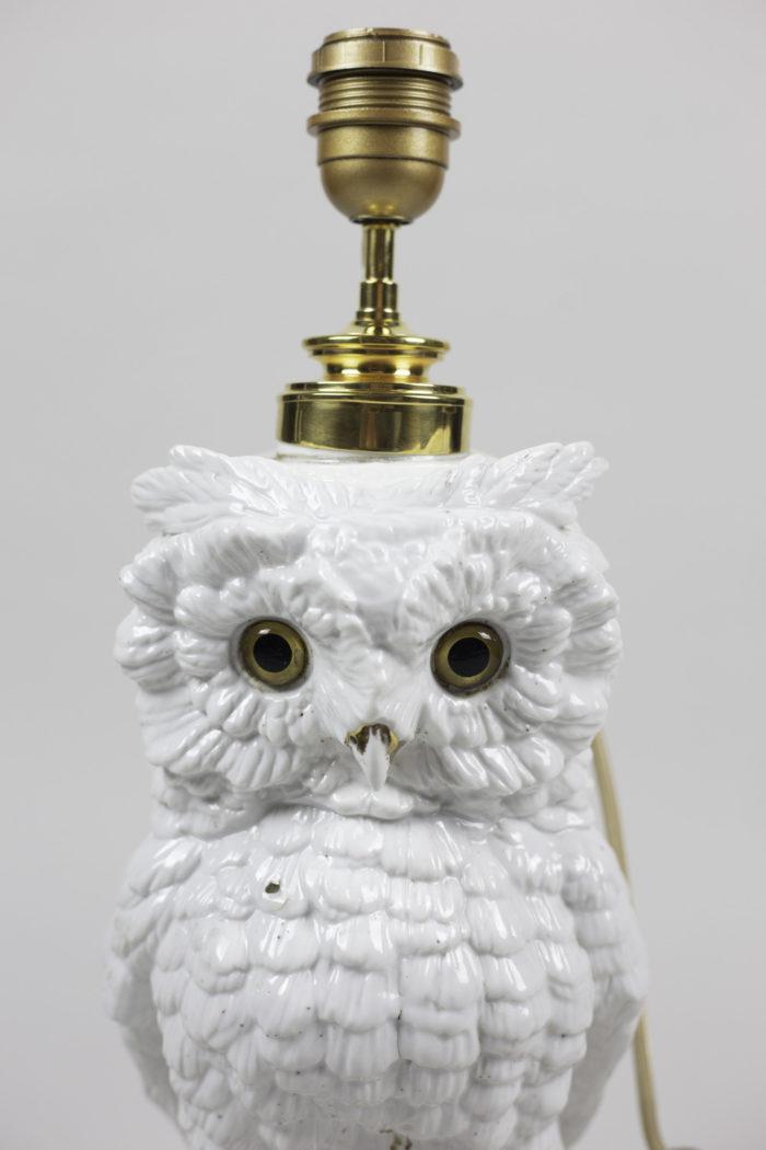 lampe hibou blanc céramique