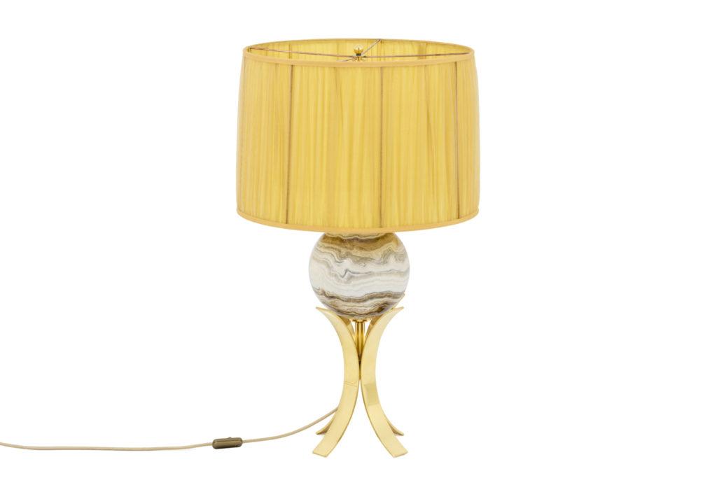 Lampe sphère en marbre et laiton doré, années 1970