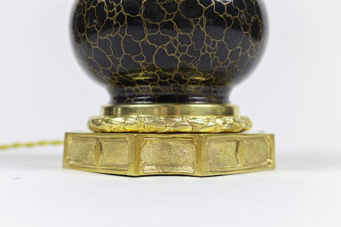 lampe style louis xvi porcelaine gris anthracite décor or base