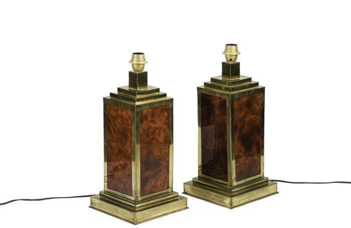 lampes bakélite laiton doré forme carrée