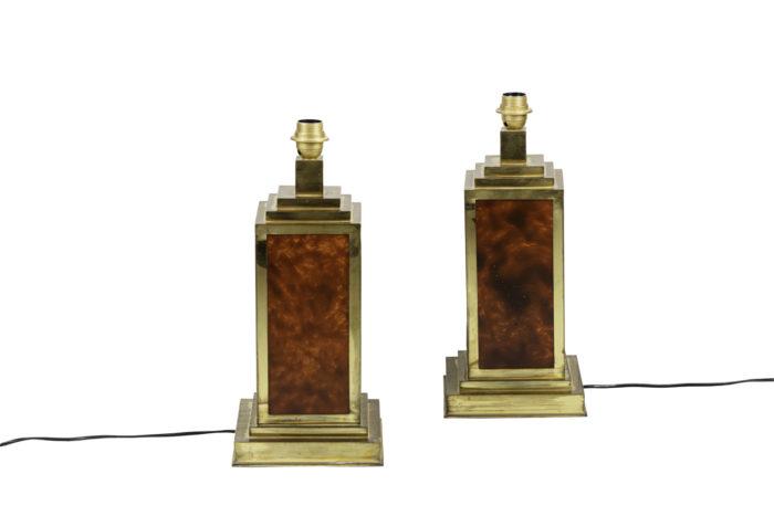 lampes bakélite laiton doré forme carrée face