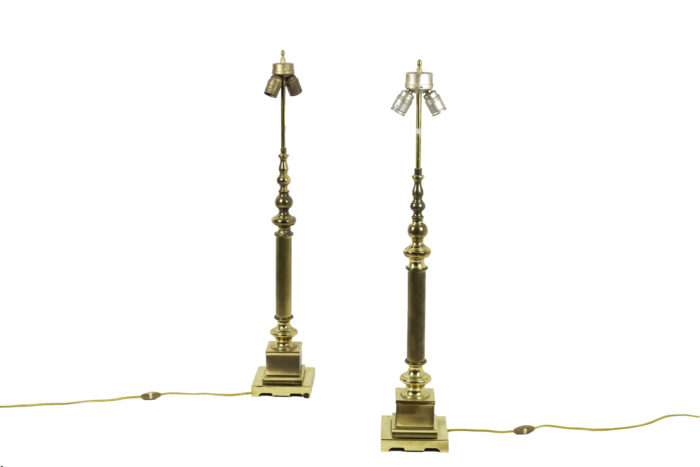 lampes colonnes bronze doré 2