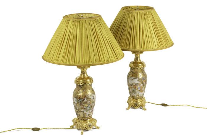 lampes faïence satsuma bronze doré