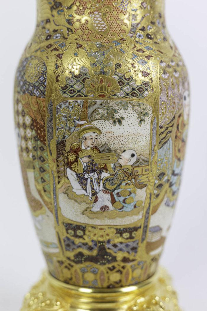 lampes faïence satsuma bronze doré décor 2