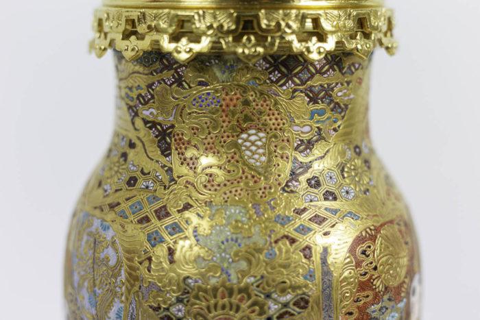 lampes faïence satsuma motifs géométriques