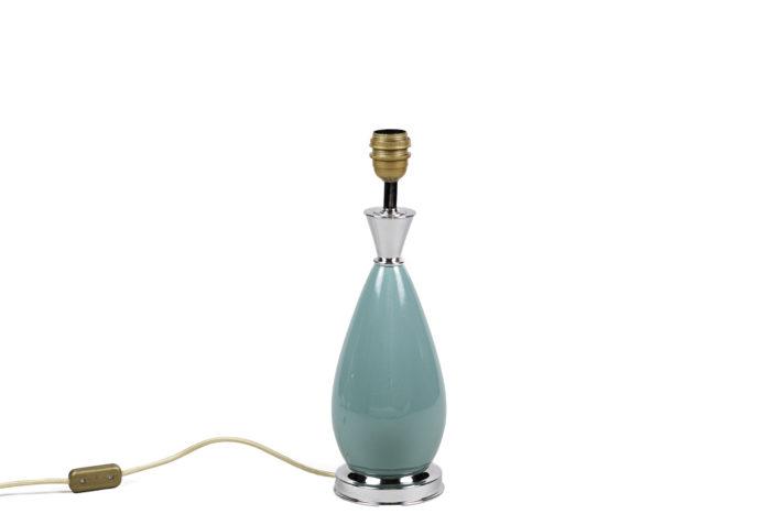lampes porcelaine bleue laiton argenté 2