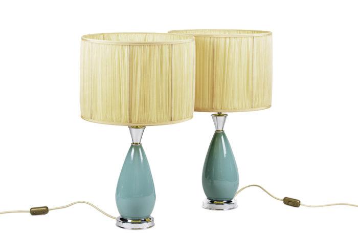 lampes porcelaine bleue laiton argenté