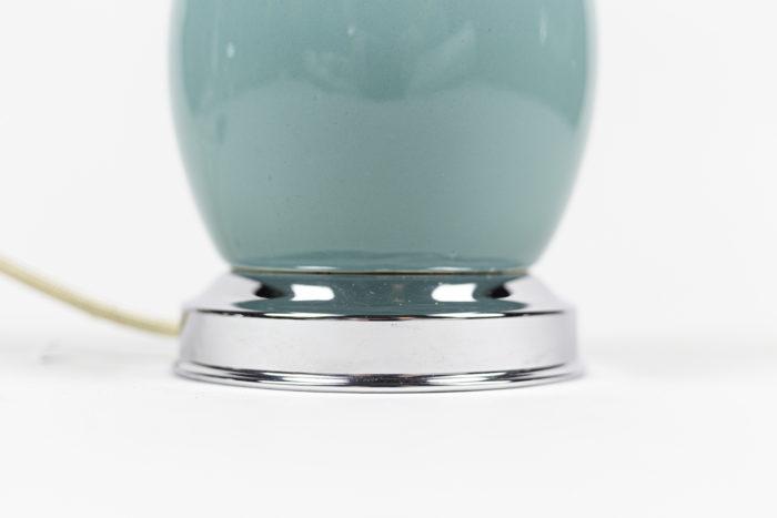 lampes porcelaine bleue laiton argenté base