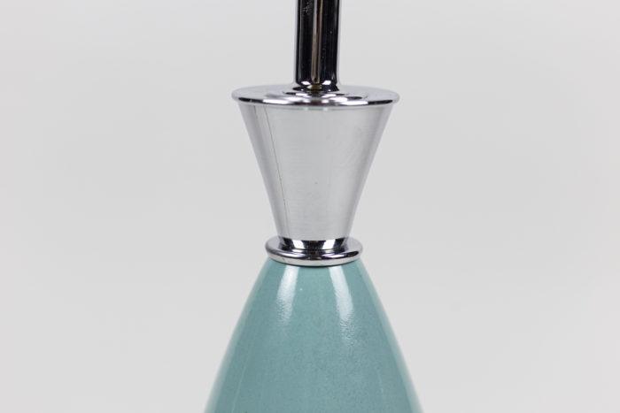 lampes porcelaine bleue laiton argenté cône 2