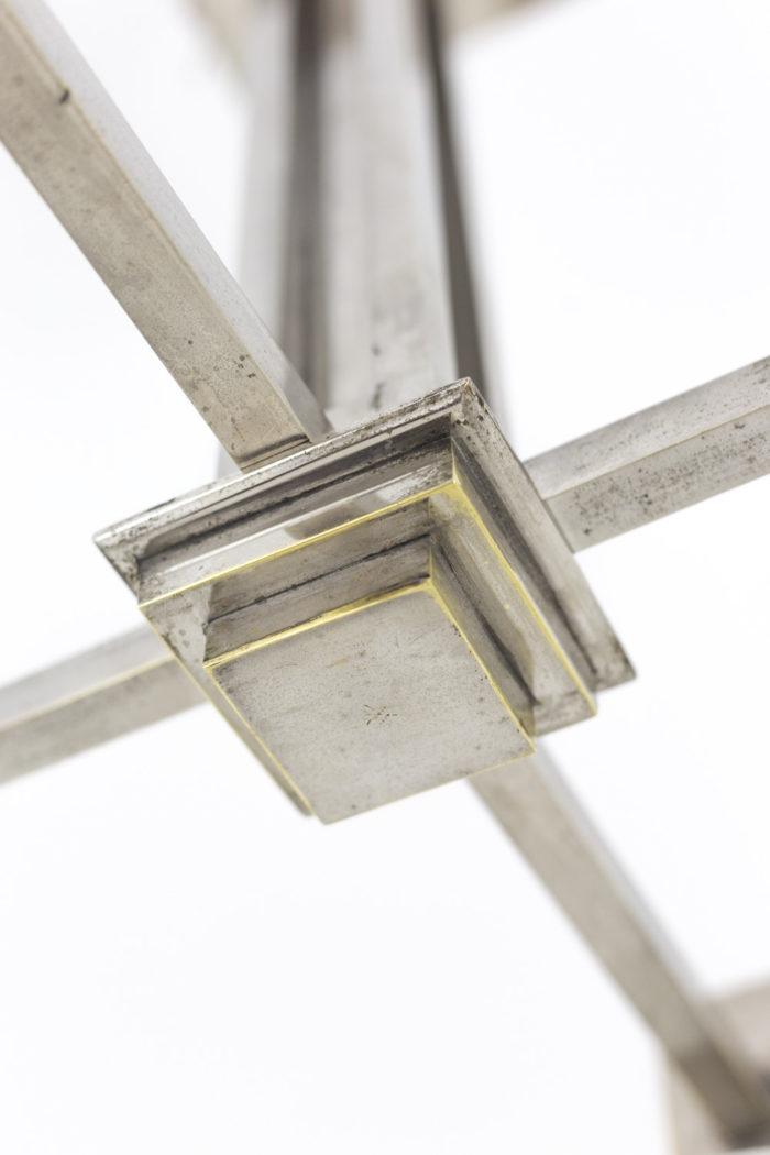 lustre métal chromé verre dépoli dessous