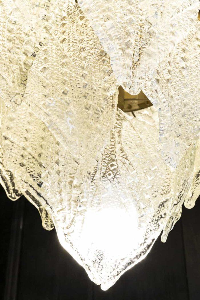 lustre verre transparent feuilles