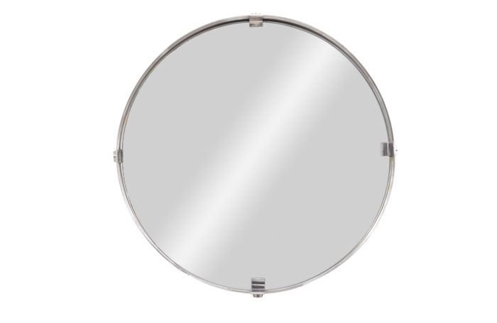 round mirror stainless steel brushed