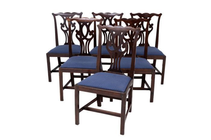 six chaises chippendale acajou