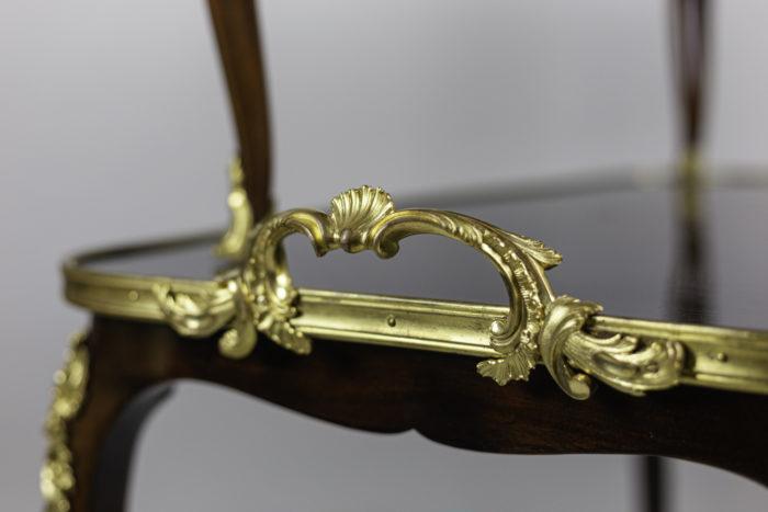table à thé style louis xv acajou bronze doré poignée